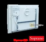 Thermor Soprano 1000 W-os  kettős hatású időzítővel ellátott elektromos radiátor hátulnézetből a tartozék szerelőkerettel