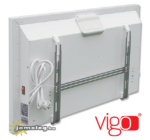 A Vigo 1000 W-os és 1500 W-os elektromos radiátor hátulnézetben a gyári tartozék fali tartókerettel