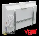A Vigo 2000 W-os és 2500 W-os nagy teljesítményű elektromos radiátor hátulnézetben az alap tartozék fali szerelőkerettel