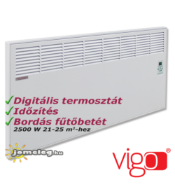Vigo 2500 W nagy teljesítményű elektromos radiátor beépített digitális vezérlővel és időzítővel