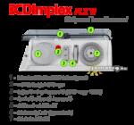 A Dimplex PLX TI 2000 W időzíthető elektromos radiátor kezelőpanele a termosztáttal, a funkcióválasztóval, az időzítővel és az átlátszó, zárható fedéllel