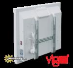 Vigo 500 W teljesítményű, digitális, időzíthető elektromos radiátor hátulnézetben, a tartozék fali szerelőkerettel