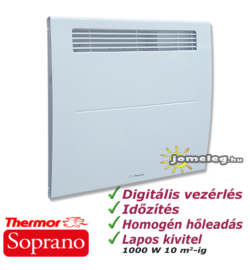 Thermor Soprano 1000 W-os  kettős hatású időzítővel ellátott elektromos radiátor elölnézetből