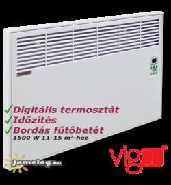 Vigo 1500 W teljesítményű elektromos radiátor beépített digitális vezérléssel és időzítővel